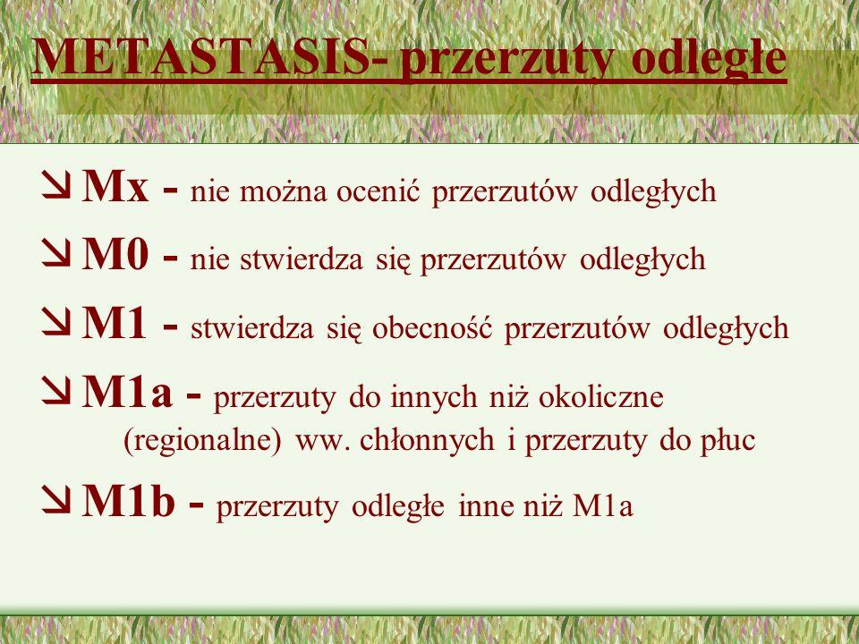 METASTASIS- przerzuty odległe æ Mx - nie można ocenić przerzutów odległych æ M0 - nie stwierdza się przerzutów odległych æ M1 - stwierdza się obecność