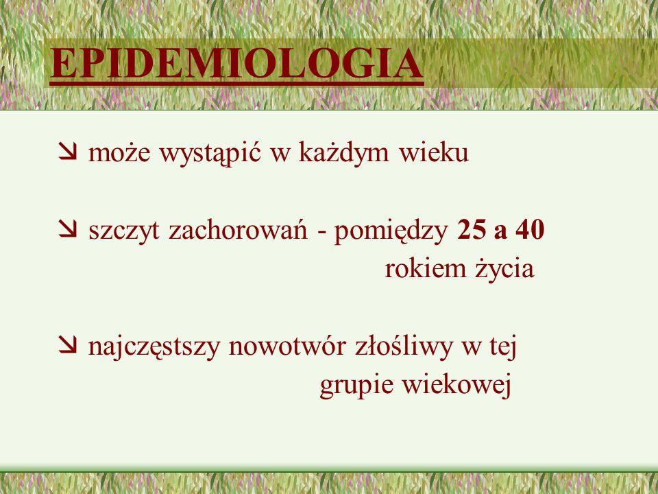 W Polsce 2010 roku: nowych zachorowań - 617 chorych (współczynnik zachorowalności 2,9/100 tys.) zmarło - 122 chorych (współczynnik umieralności 0,6/100 tys.)