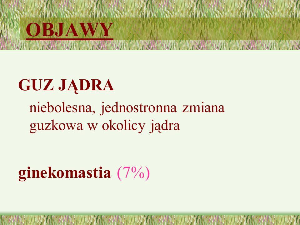 OBJAWY GUZ JĄDRA niebolesna, jednostronna zmiana guzkowa w okolicy jądra ginekomastia (7%)