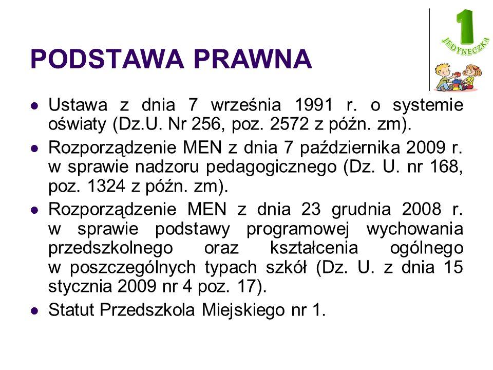 PODSTAWA PRAWNA Ustawa z dnia 7 września 1991 r. o systemie oświaty (Dz.U.