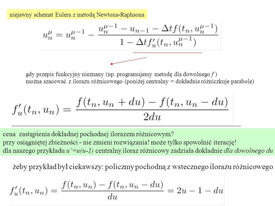niejawny schemat Eulera z metodą Newtona-Raphsona gdy przepis funkcyjny nieznany (np. programujemy metodę dla dowolnego f ) można szacować z ilorazu r