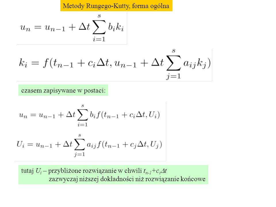 czasem zapisywane w postaci: tutaj U i – przybliżone rozwiązanie w chwili t n-1 +c i  t zazwyczaj niższej dokładności niż rozwiązanie końcowe Metody Rungego-Kutty, forma ogólna