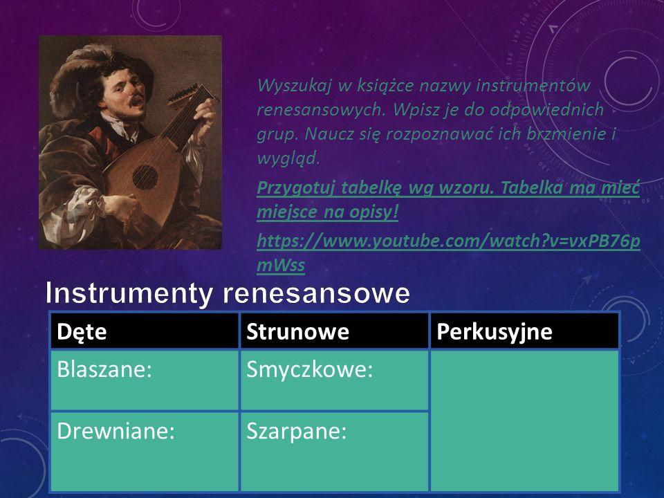 Wyszukaj w książce nazwy instrumentów renesansowych. Wpisz je do odpowiednich grup. Naucz się rozpoznawać ich brzmienie i wygląd. Przygotuj tabelkę wg