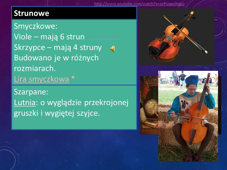 Strunowe Smyczkowe: Viole – mają 6 strun http://www.youtube.com/watch?v=vvV6lL-ulN8&feature=related http://www.youtube.com/watch?v=vvV6lL-ulN8&feature=related Skrzypce – mają 4 struny Budowano je w różnych rozmiarach.
