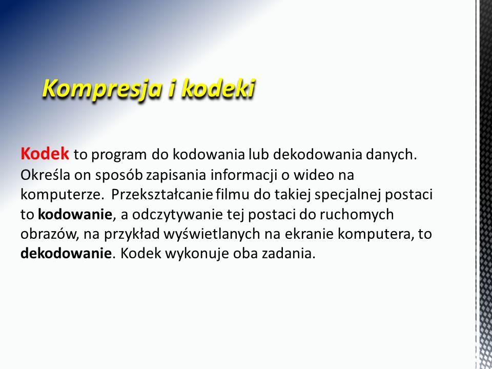 Kompresja i kodeki Kodek to program do kodowania lub dekodowania danych.