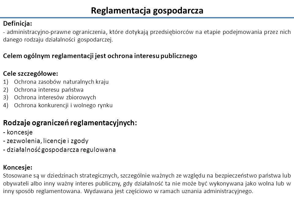 Reglamentacja gospodarcza Definicja: - administracyjno-prawne ograniczenia, które dotykają przedsiębiorców na etapie podejmowania przez nich danego rodzaju działalności gospodarczej.