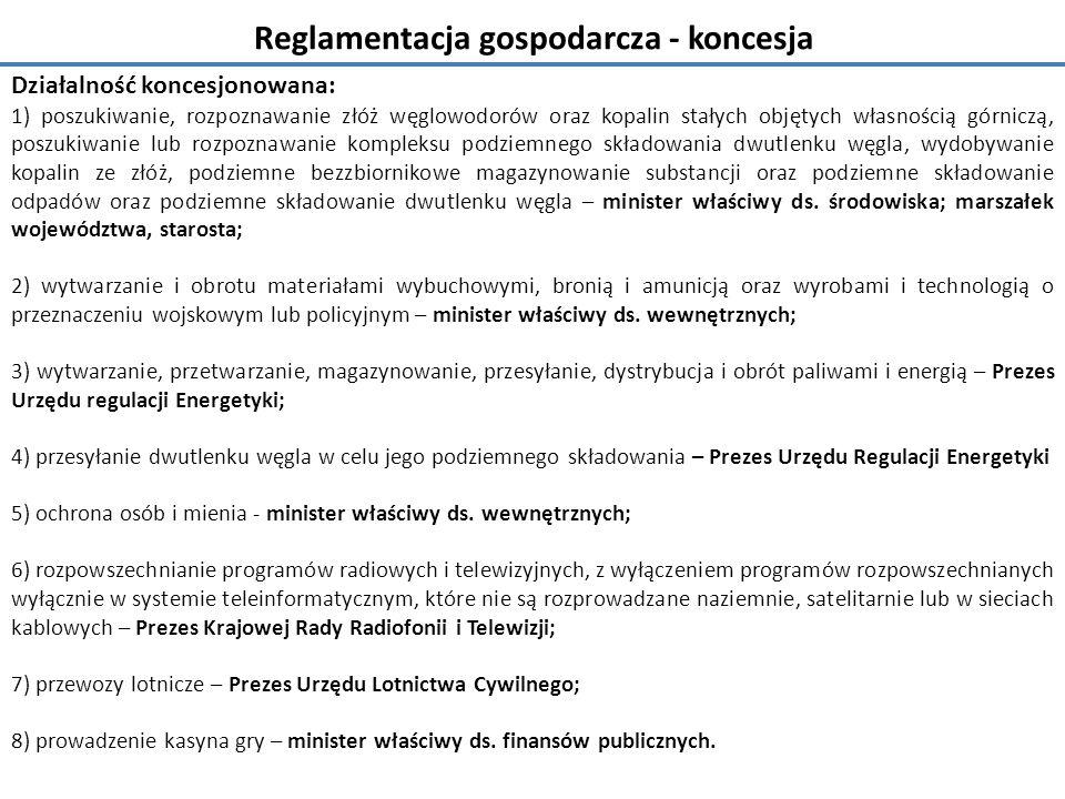 Reglamentacja gospodarcza - koncesja Działalność koncesjonowana: 1) poszukiwanie, rozpoznawanie złóż węglowodorów oraz kopalin stałych objętych własnością górniczą, poszukiwanie lub rozpoznawanie kompleksu podziemnego składowania dwutlenku węgla, wydobywanie kopalin ze złóż, podziemne bezzbiornikowe magazynowanie substancji oraz podziemne składowanie odpadów oraz podziemne składowanie dwutlenku węgla – minister właściwy ds.