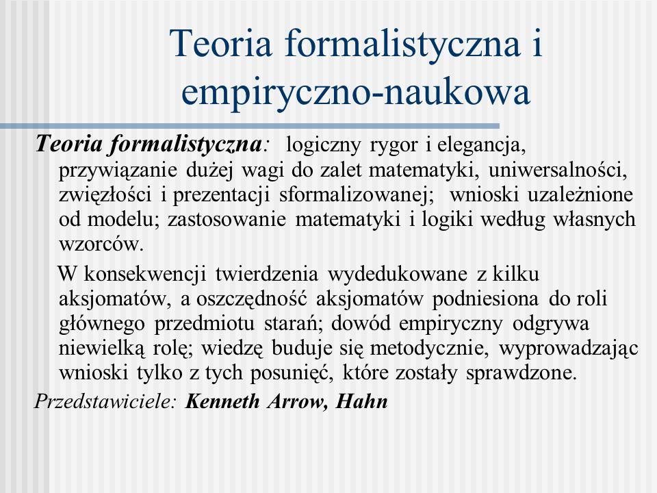 Teoria formalistyczna i empiryczno-naukowa Teoria formalistyczna: logiczny rygor i elegancja, przywiązanie dużej wagi do zalet matematyki, uniwersalności, zwięzłości i prezentacji sformalizowanej; wnioski uzależnione od modelu; zastosowanie matematyki i logiki według własnych wzorców.