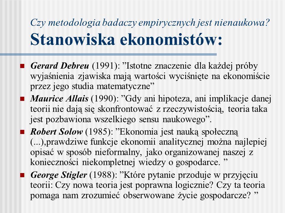 """Czy metodologia badaczy empirycznych jest nienaukowa? Stanowiska ekonomistów: Gerard Debreu (1991): """"Istotne znaczenie dla każdej próby wyjaśnienia zj"""