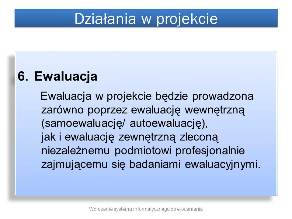 6.Ewaluacja Ewaluacja w projekcie będzie prowadzona zarówno poprzez ewaluację wewnętrzną (samoewaluację/ autoewaluację), jak i ewaluację zewnętrzną zl