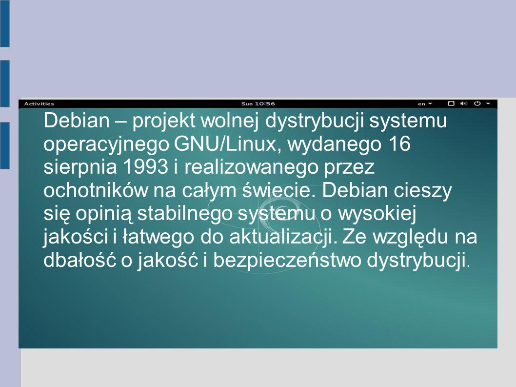 Debian – projekt wolnej dystrybucji systemu operacyjnego GNU/Linux, wydanego 16 sierpnia 1993 i realizowanego przez ochotników na całym świecie. Debia