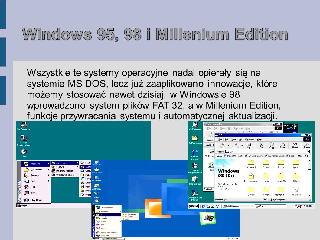 Wszystkie te systemy operacyjne nadal opierały się na systemie MS DOS, lecz już zaaplikowano innowacje, które możemy stosować nawet dzisiaj, w Windows