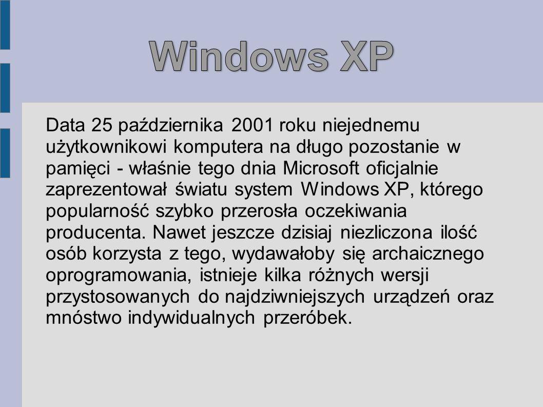 Data 25 października 2001 roku niejednemu użytkownikowi komputera na długo pozostanie w pamięci - właśnie tego dnia Microsoft oficjalnie zaprezentował