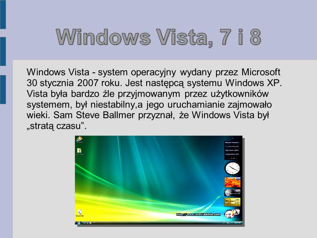 Windows Vista - system operacyjny wydany przez Microsoft 30 stycznia 2007 roku. Jest następcą systemu Windows XP. Vista była bardzo źle przyjmowanym p