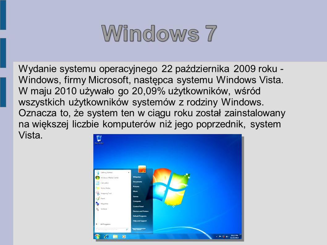 Wydanie systemu operacyjnego 22 października 2009 roku - Windows, firmy Microsoft, następca systemu Windows Vista. W maju 2010 używało go 20,09% użytk