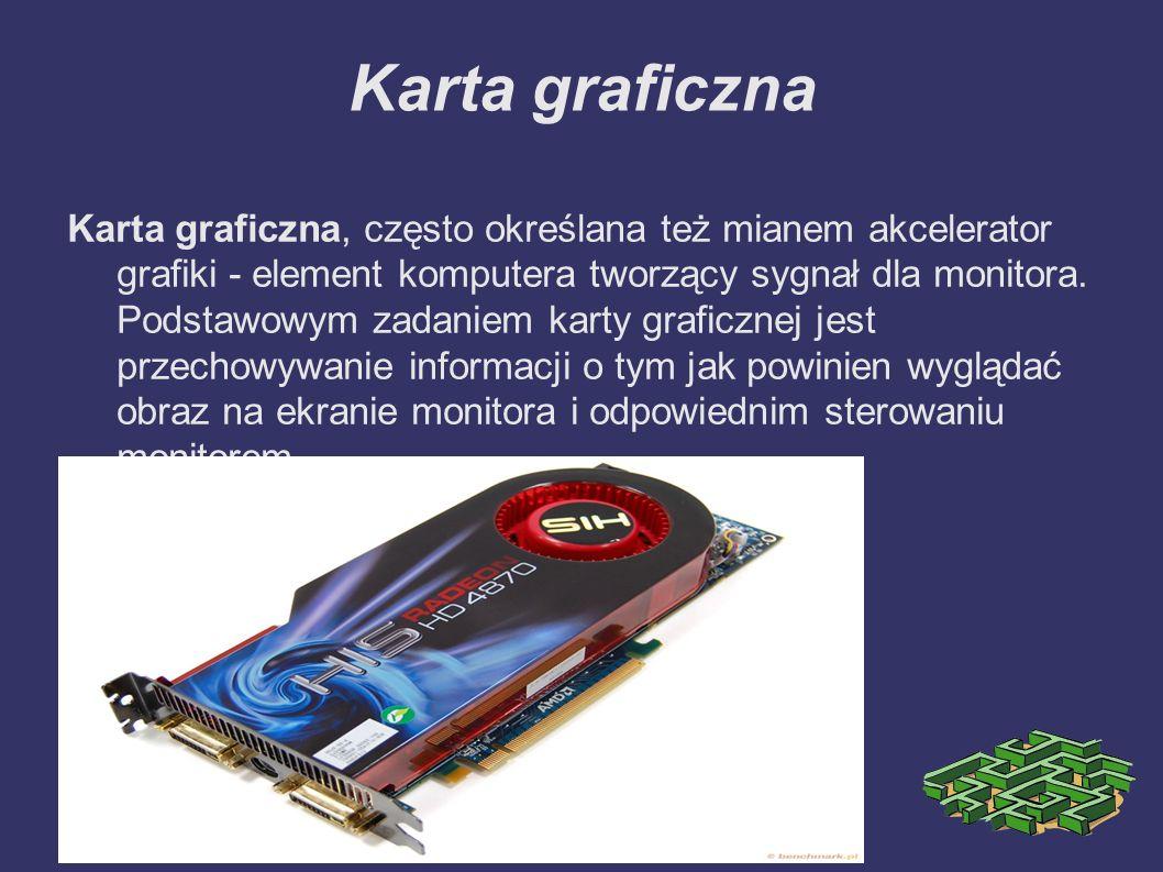 Karta graficzna Karta graficzna, często określana też mianem akcelerator grafiki - element komputera tworzący sygnał dla monitora. Podstawowym zadanie
