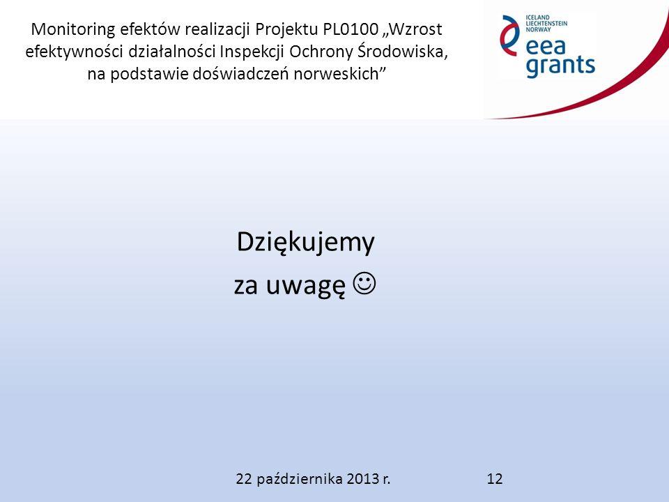 """Monitoring efektów realizacji Projektu PL0100 """"Wzrost efektywności działalności Inspekcji Ochrony Środowiska, na podstawie doświadczeń norweskich Dziękujemy za uwagę 22 października 2013 r.12"""