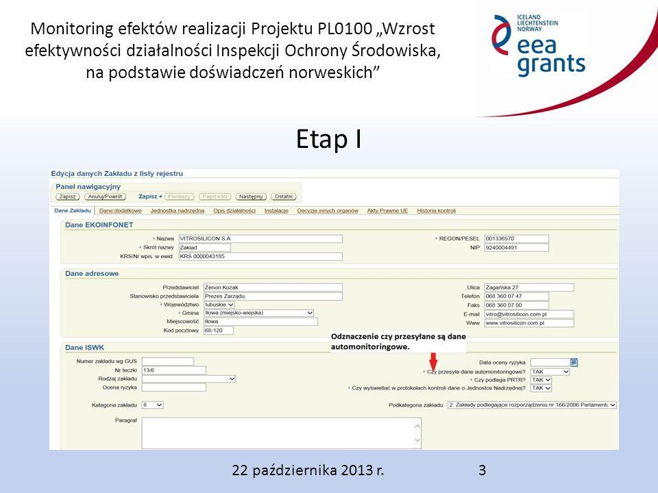 """Monitoring efektów realizacji Projektu PL0100 """"Wzrost efektywności działalności Inspekcji Ochrony Środowiska, na podstawie doświadczeń norweskich Etap I 22 października 2013 r.3"""