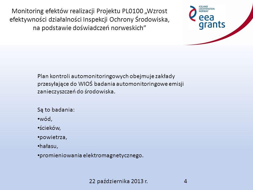 """Monitoring efektów realizacji Projektu PL0100 """"Wzrost efektywności działalności Inspekcji Ochrony Środowiska, na podstawie doświadczeń norweskich Plan kontroli automonitoringowych obejmuje zakłady przesyłające do WIOŚ badania automonitoringowe emisji zanieczyszczeń do środowiska."""
