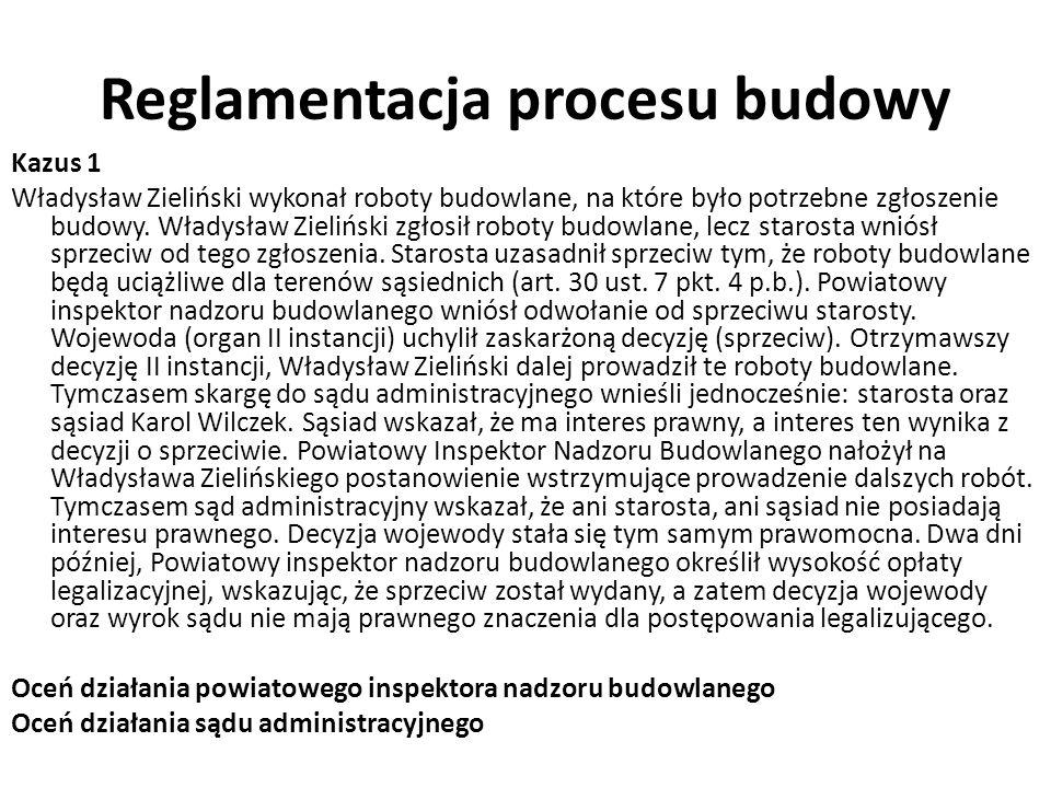 Reglamentacja procesu budowy Kazus 1 Władysław Zieliński wykonał roboty budowlane, na które było potrzebne zgłoszenie budowy.