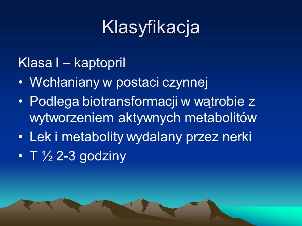 Klasa II – enalapril, benazapril, perindopril, trandorapril Leki prekursorowe (wchłaniane w postaci nieczynnej) W wątrobie metabolizowane do czynnych prilatów Im większa lipofilność, w tym większym stopniu wydalane z żółcią (fosinopril, trandolapril – w równym stopniu wydalane z żółcią i przez nerki)