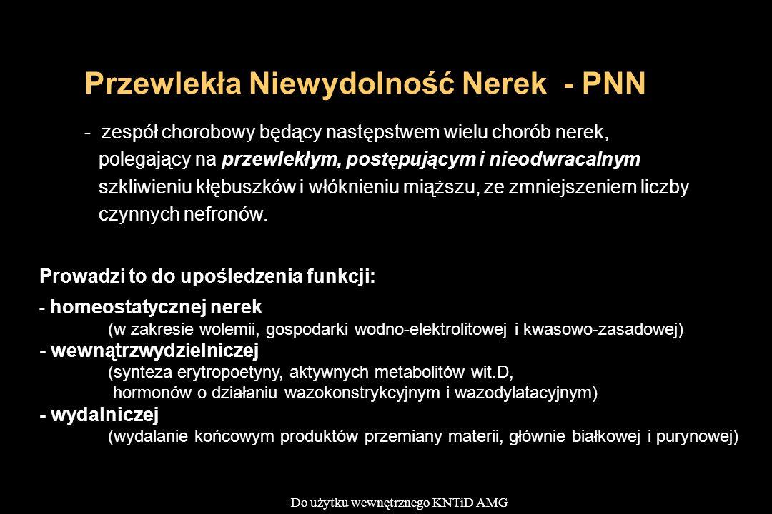 Do użytku wewnętrznego KNTiD AMG Przewlekła Niewydolność Nerek - PNN - zespół chorobowy będący następstwem wielu chorób nerek, polegający na przewlekł