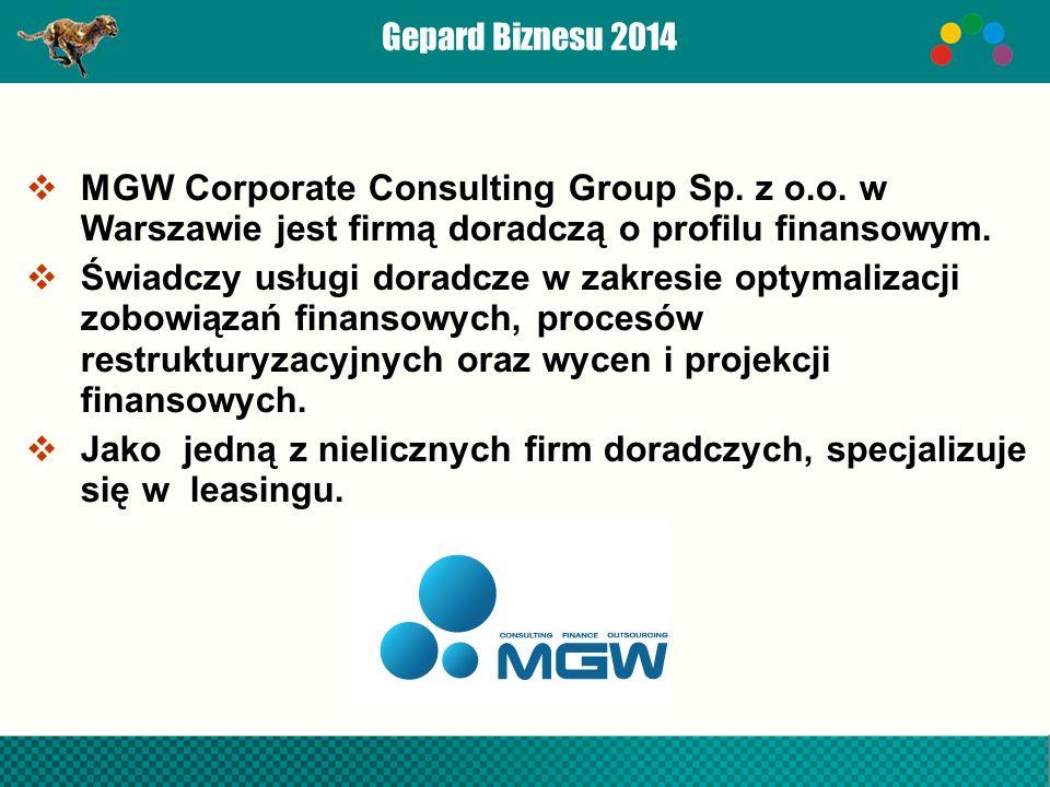  MGW Corporate Consulting Group Sp. z o.o. w Warszawie jest firmą doradczą o profilu finansowym.