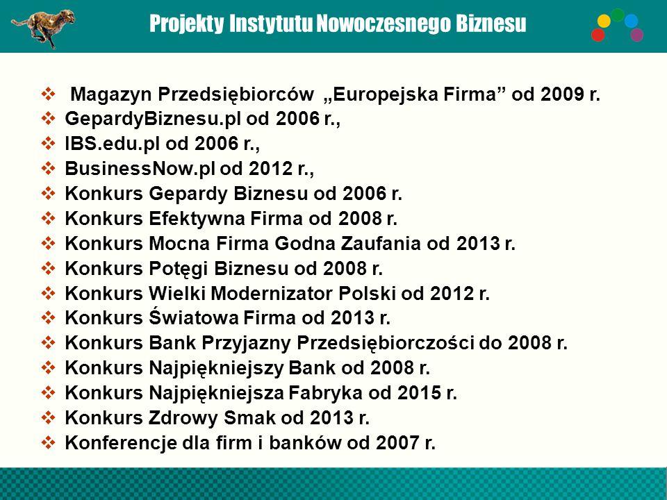 """Projekty Instytutu Nowoczesnego Biznesu  Magazyn Przedsiębiorców """"Europejska Firma od 2009 r."""