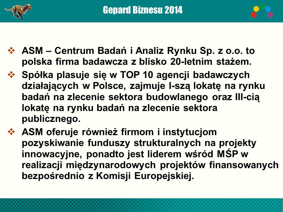 Gepard Biznesu 2014  ASM – Centrum Badań i Analiz Rynku Sp.