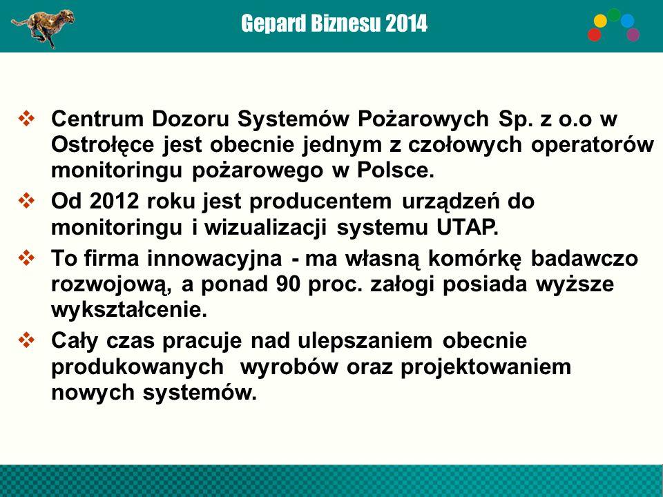 Gepard Biznesu 2014  Centrum Dozoru Systemów Pożarowych Sp.