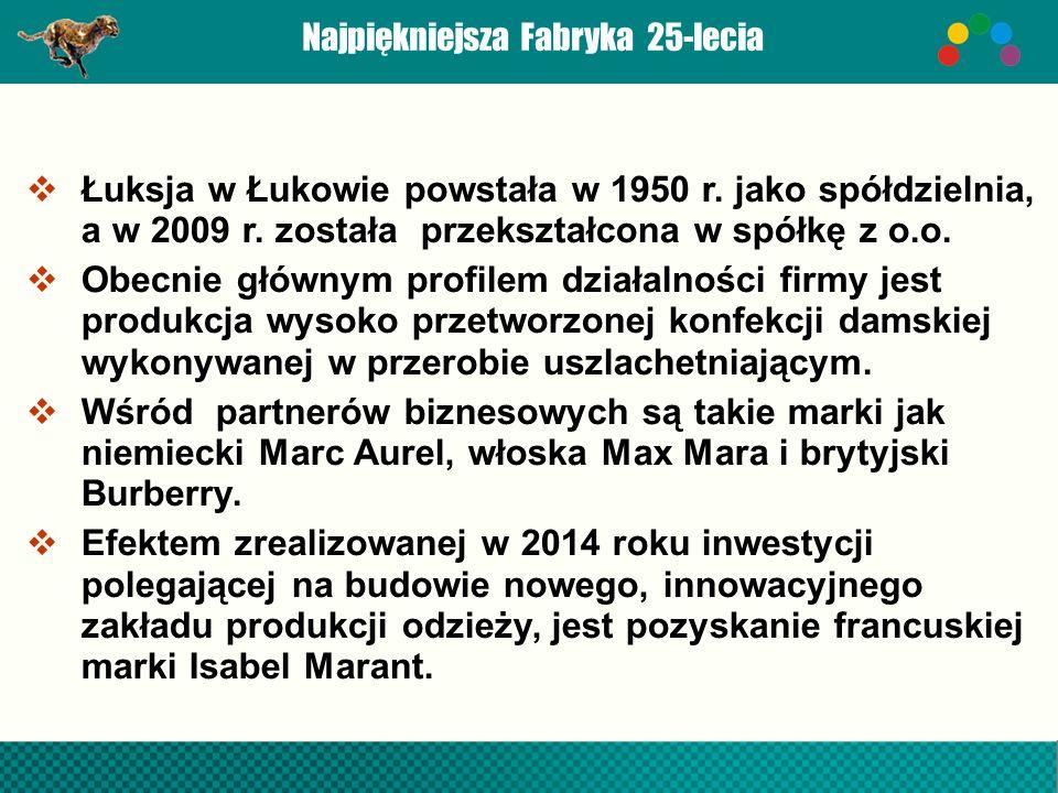 Najpiękniejsza Fabryka 25-lecia  Łuksja w Łukowie powstała w 1950 r.