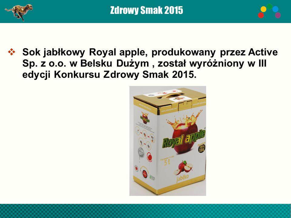 Zdrowy Smak 2015  Sok jabłkowy Royal apple, produkowany przez Active Sp.