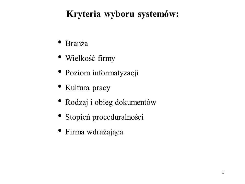 1 Kryteria wyboru systemów: Branża Wielkość firmy Poziom informatyzacji Kultura pracy Rodzaj i obieg dokumentów Stopień proceduralności Firma wdrażają