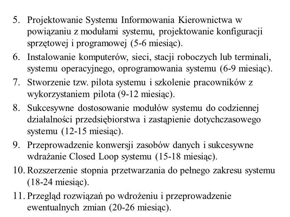 5. Projektowanie Systemu Informowania Kierownictwa w powiązaniu z modułami systemu, projektowanie konfiguracji sprzętowej i programowej (5-6 miesiąc).