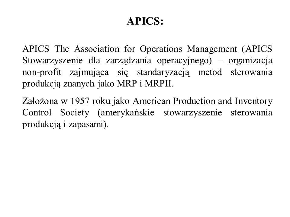 APICS: APICS The Association for Operations Management (APICS Stowarzyszenie dla zarządzania operacyjnego) – organizacja non-profit zajmująca się stan