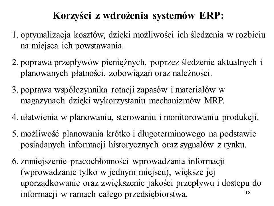 18 Korzyści z wdrożenia systemów ERP: 1.optymalizacja kosztów, dzięki możliwości ich śledzenia w rozbiciu na miejsca ich powstawania. 2.poprawa przepł