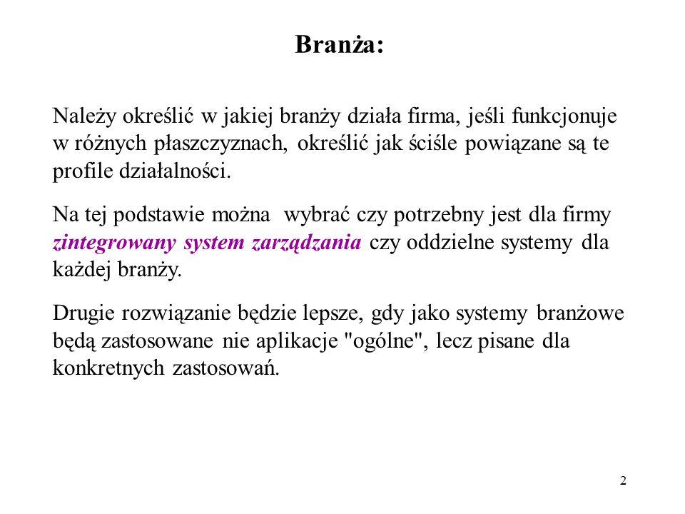 2 Branża: Należy określić w jakiej branży działa firma, jeśli funkcjonuje w różnych płaszczyznach, określić jak ściśle powiązane są te profile działal