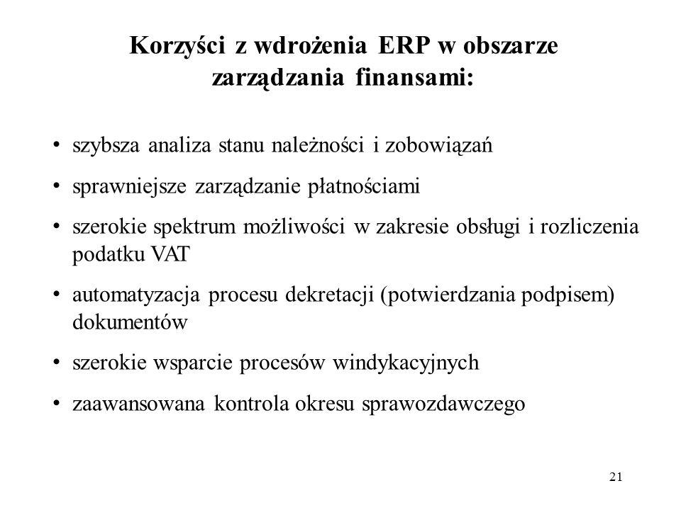 21 Korzyści z wdrożenia ERP w obszarze zarządzania finansami: szybsza analiza stanu należności i zobowiązań sprawniejsze zarządzanie płatnościami szer