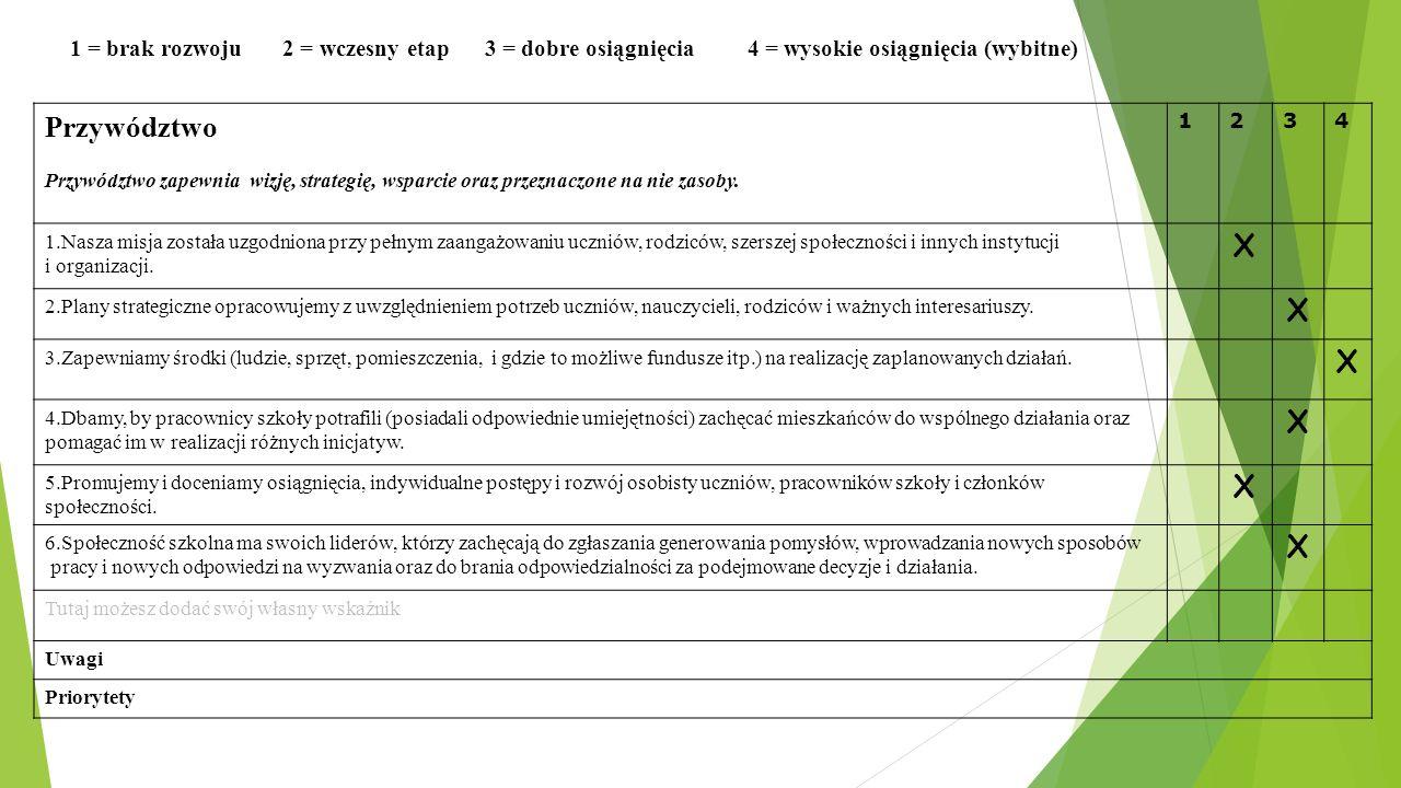 1 = brak rozwoju 2 = wczesny etap 3 = dobre osiągnięcia 4 = wysokie osiągnięcia (wybitne) Przywództwo Przywództwo zapewnia wizję, strategię, wsparcie
