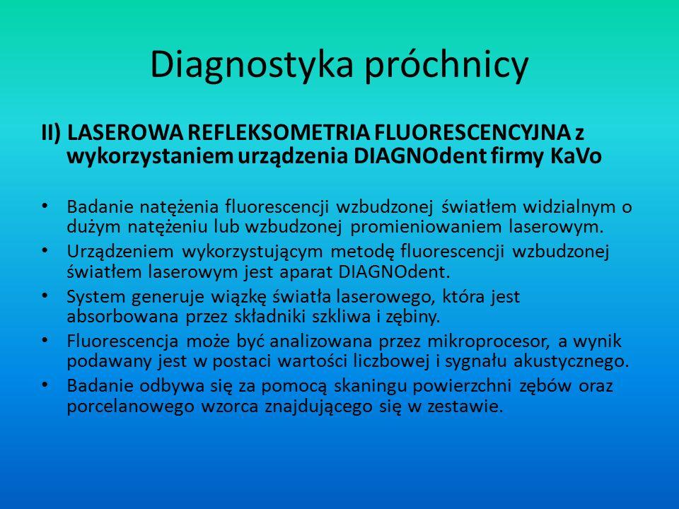 II) LASEROWA REFLEKSOMETRIA FLUORESCENCYJNA z wykorzystaniem urządzenia DIAGNOdent firmy KaVo Badanie natężenia fluorescencji wzbudzonej światłem widz