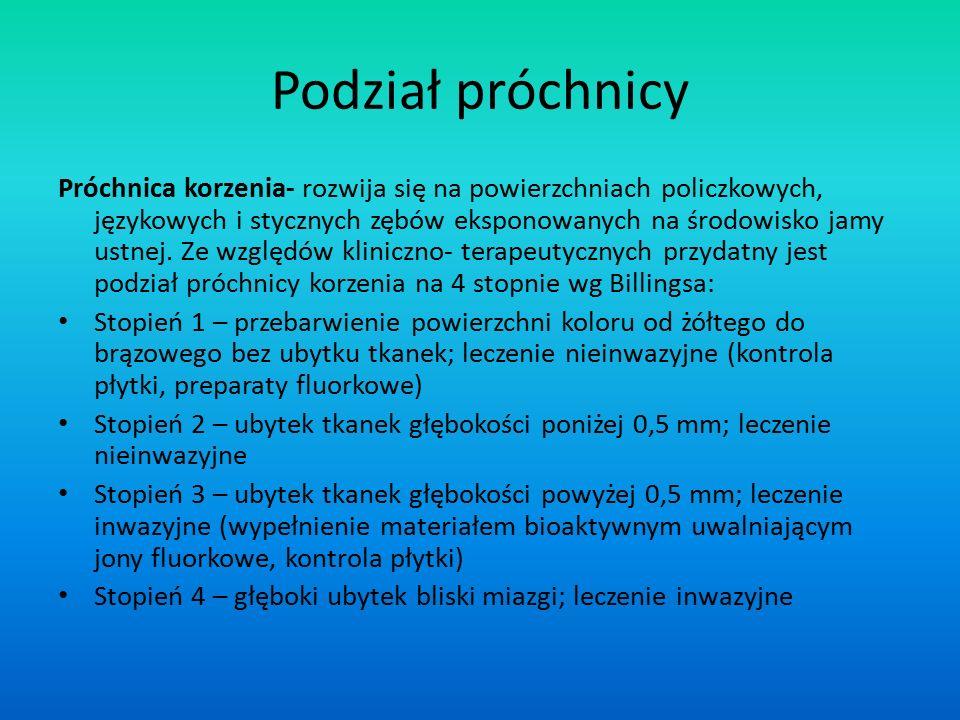 Podział próchnicy Próchnica korzenia- rozwija się na powierzchniach policzkowych, językowych i stycznych zębów eksponowanych na środowisko jamy ustnej