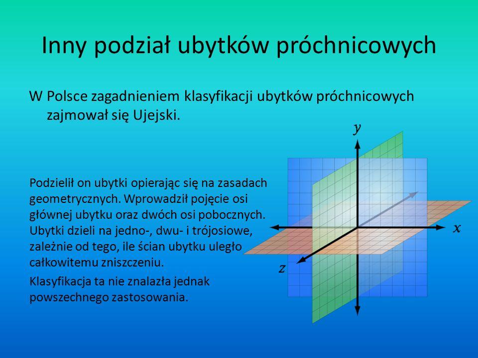 Inny podział ubytków próchnicowych W Polsce zagadnieniem klasyfikacji ubytków próchnicowych zajmował się Ujejski. Podzielił on ubytki opierając się na