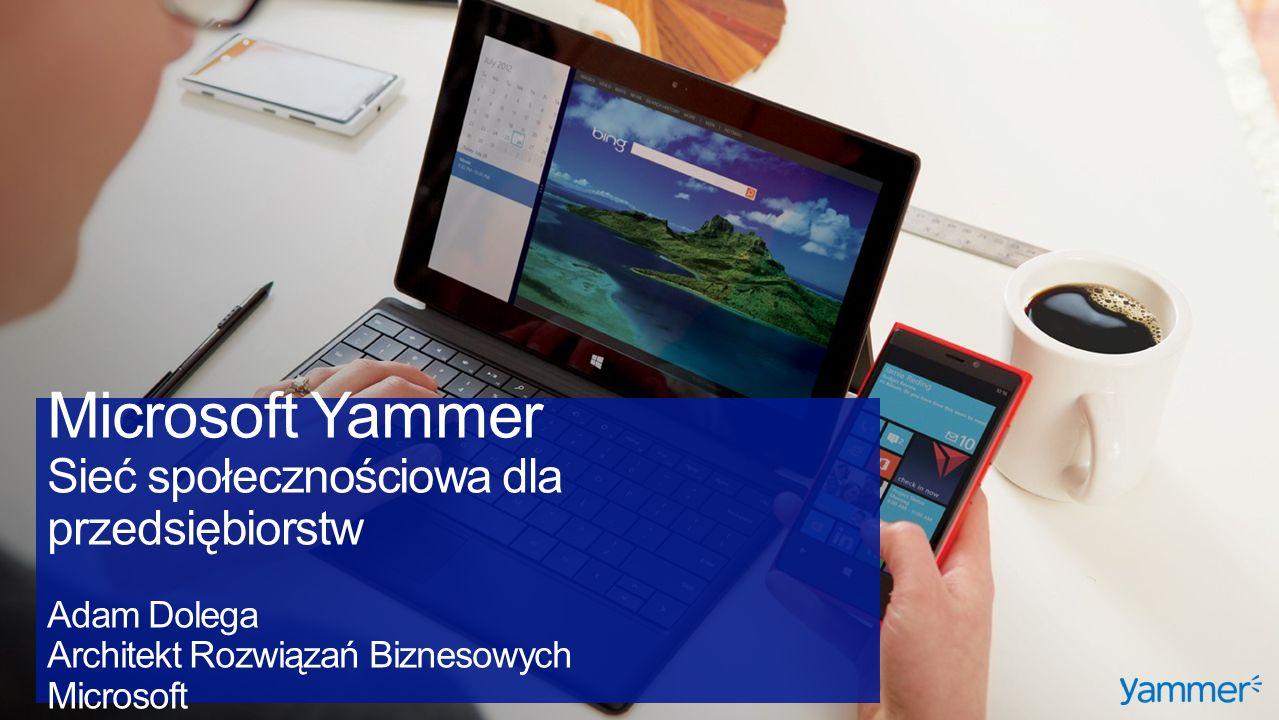 Microsoft Yammer Sieć społecznościowa dla przedsiębiorstw Adam Dolega Architekt Rozwiązań Biznesowych Microsoft