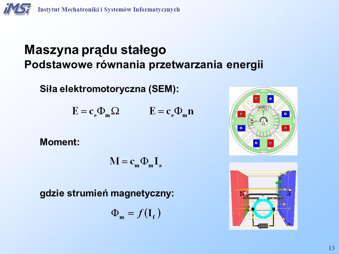 13 Siła elektromotoryczna (SEM): Moment: gdzie strumień magnetyczny: Maszyna prądu stałego Podstawowe równania przetwarzania energii Instytut Mechatroniki i Systemów Informatycznych