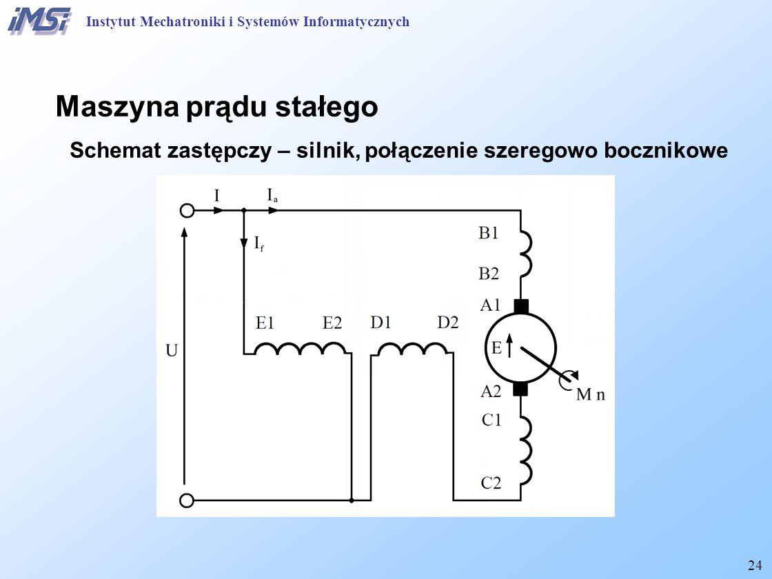 24 Instytut Mechatroniki i Systemów Informatycznych Maszyna prądu stałego Schemat zastępczy – silnik, połączenie szeregowo bocznikowe