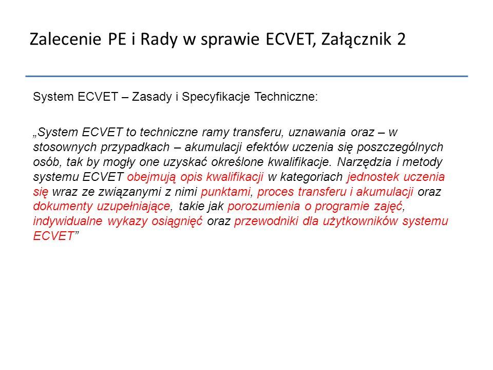 """Zalecenie PE i Rady w sprawie ECVET, Załącznik 2 System ECVET – Zasady i Specyfikacje Techniczne: """"System ECVET to techniczne ramy transferu, uznawani"""