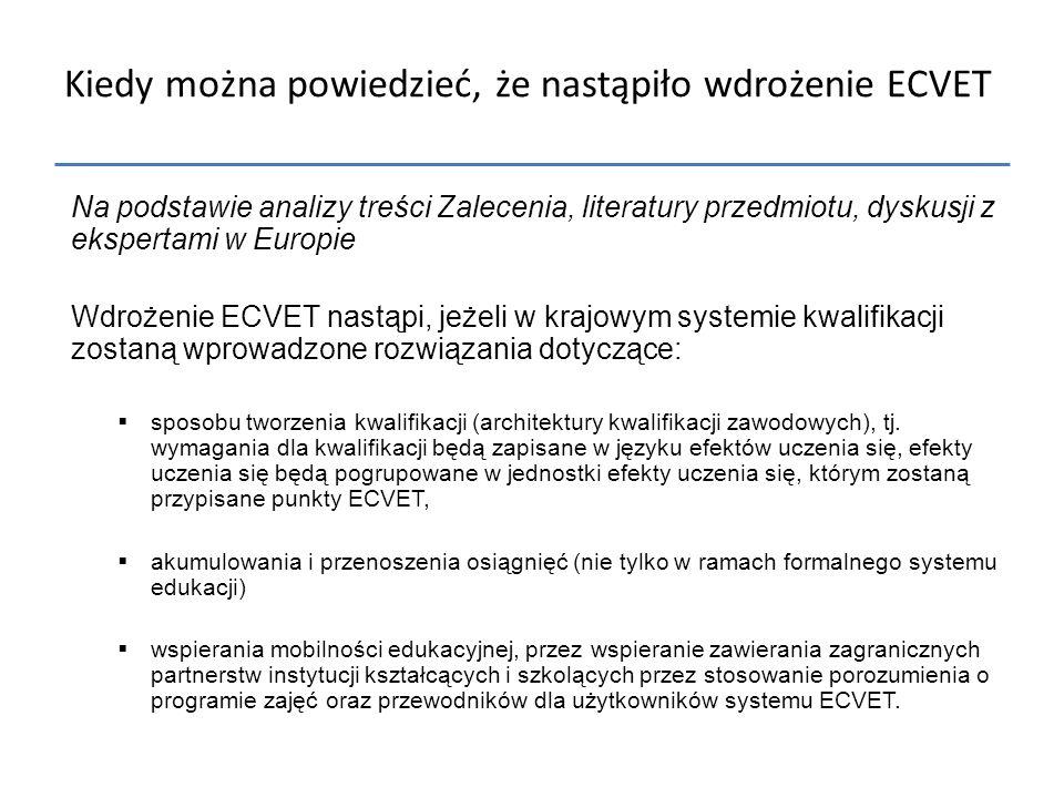 Kiedy można powiedzieć, że nastąpiło wdrożenie ECVET Na podstawie analizy treści Zalecenia, literatury przedmiotu, dyskusji z ekspertami w Europie Wdr