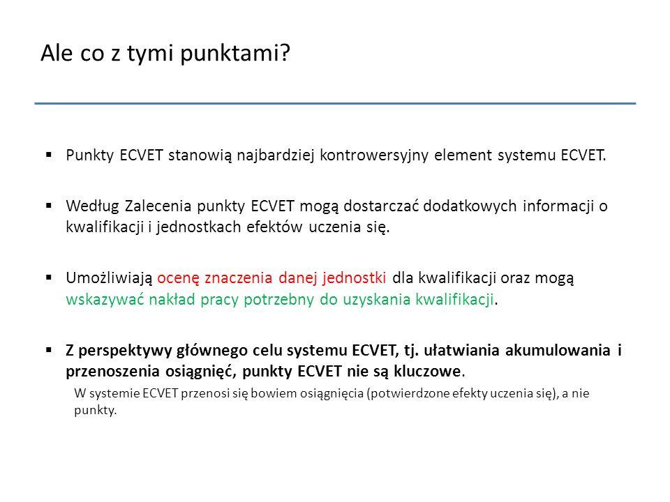 Ale co z tymi punktami?  Punkty ECVET stanowią najbardziej kontrowersyjny element systemu ECVET.  Według Zalecenia punkty ECVET mogą dostarczać doda
