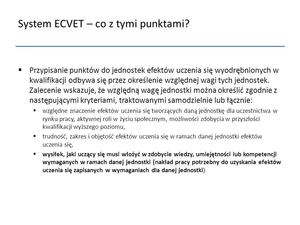 System ECVET – co z tymi punktami?  Przypisanie punktów do jednostek efektów uczenia się wyodrębnionych w kwalifikacji odbywa się przez określenie wz