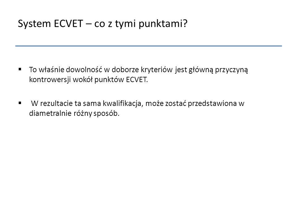 System ECVET – co z tymi punktami?  To właśnie dowolność w doborze kryteriów jest główną przyczyną kontrowersji wokół punktów ECVET.  W rezultacie t